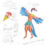 Skizze für ein Ara-Kostüm